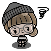 Cute girl with round glasses sticker #8035573