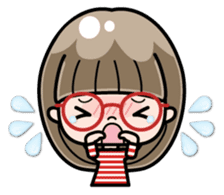 Cute girl with round glasses sticker #8035579