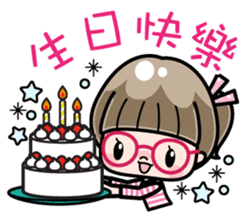 Cute girl with round glasses sticker #8035584