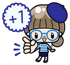 Cute girl with round glasses sticker #8035587