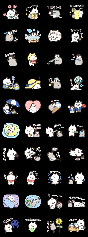 สติ๊กเกอร์ไลน์ Penguin and Cat Days (Summertime Fun)
