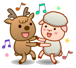 Happiness sheep & deer( International ) sticker #8093115