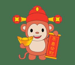 Monkey in Chinese New Year-Red Monkey sticker #8100159