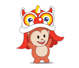 Monkey in Chinese New Year-Red Monkey sticker #8100163