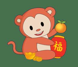 Monkey in Chinese New Year-Red Monkey sticker #8100172