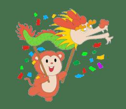 Monkey in Chinese New Year-Red Monkey sticker #8100177