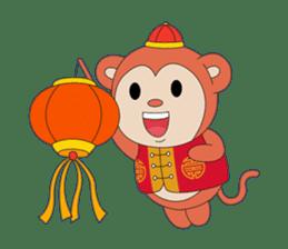 Monkey in Chinese New Year-Red Monkey sticker #8100178
