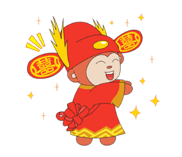 Monkey in Chinese New Year-Red Monkey sticker #8100180
