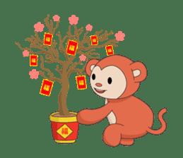 Monkey in Chinese New Year-Red Monkey sticker #8100191