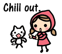 British Englsih with girl and cat sticker #8180345