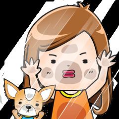 Sulky girl with dog (English)