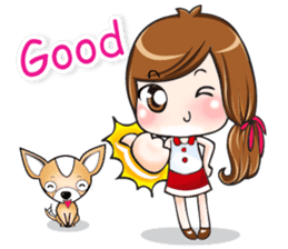 Sulky girl with dog (English) sticker #8187790