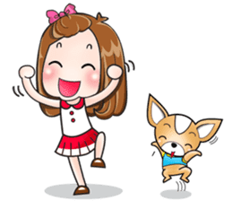 Sulky girl with dog (English) sticker #8187791