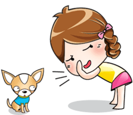 Sulky girl with dog (English) sticker #8187793