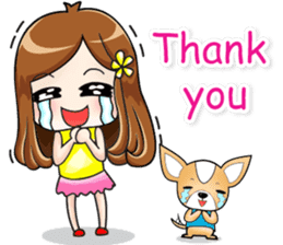 Sulky girl with dog (English) sticker #8187795