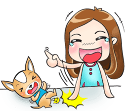 Sulky girl with dog (English) sticker #8187796