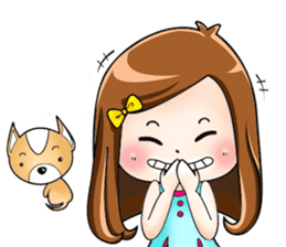 Sulky girl with dog (English) sticker #8187797