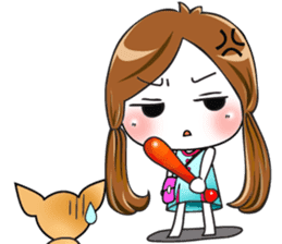 Sulky girl with dog (English) sticker #8187799