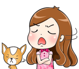 Sulky girl with dog (English) sticker #8187802