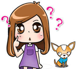 Sulky girl with dog (English) sticker #8187805