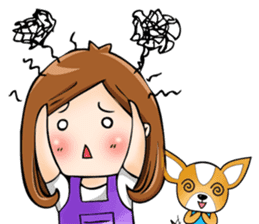Sulky girl with dog (English) sticker #8187806