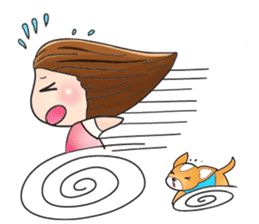 Sulky girl with dog (English) sticker #8187809