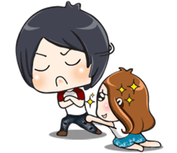 Sulky girl with dog (English) sticker #8187814