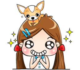 Sulky girl with dog (English) sticker #8187815