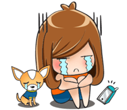 Sulky girl with dog (English) sticker #8187816