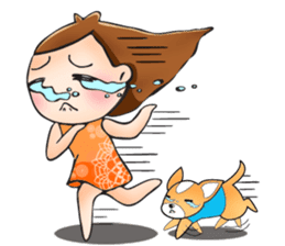 Sulky girl with dog (English) sticker #8187818