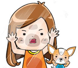 Sulky girl with dog (English) sticker #8187819