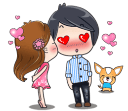 Sulky girl with dog (English) sticker #8187822