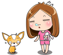 Sulky girl with dog (English) sticker #8187825