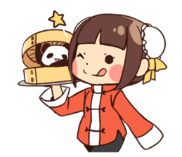China Girl & Miniature panda sticker #8190154