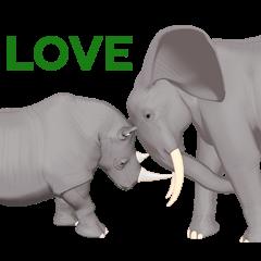 Elephant and Rhinoceros Sticker