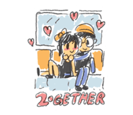 Long Distance Cute Power Couple sticker #8243828