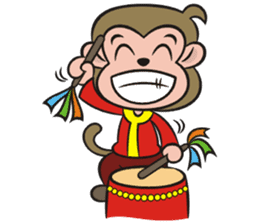 Lucky God came-Little monkey to New Year sticker #8307386