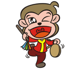 Lucky God came-Little monkey to New Year sticker #8307387