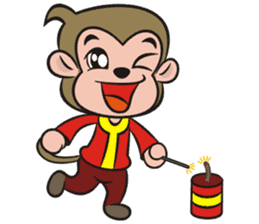 Lucky God came-Little monkey to New Year sticker #8307389