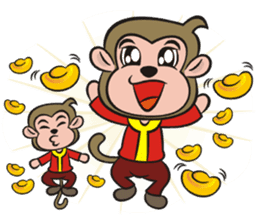 Lucky God came-Little monkey to New Year sticker #8307392