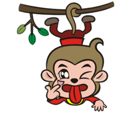 Lucky God came-Little monkey to New Year sticker #8307399