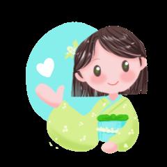 kimono girl greeting