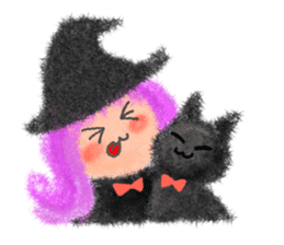 Fluffy balls (4) Halloween sticker #8337369