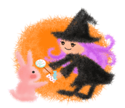 Fluffy balls (4) Halloween sticker #8337382