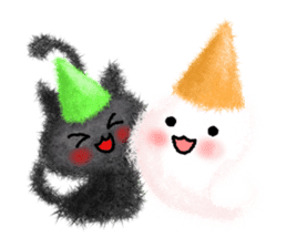 Fluffy balls (4) Halloween sticker #8337383