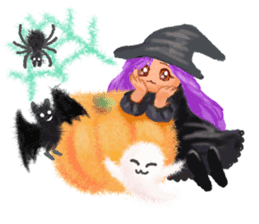 Fluffy balls (4) Halloween sticker #8337387