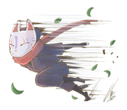 Ninja wearing a Mask of fox sticker #8394761