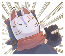 Ninja wearing a Mask of fox sticker #8394781
