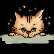 สติ๊กเกอร์ไลน์ Brown tabby saji cat