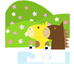Horse and giraffe - Fall New Year ~ sticker #8473387